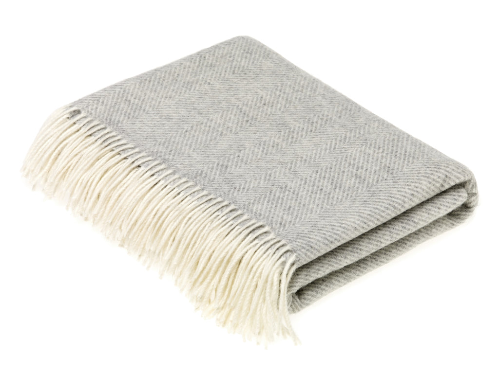 Merino Lambswool Throw Blanket - Herringbone - Gray, Made in England