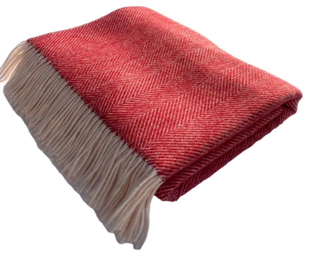 Merino Lambswool Throw Blanket - Herringbone - Red, Made in England