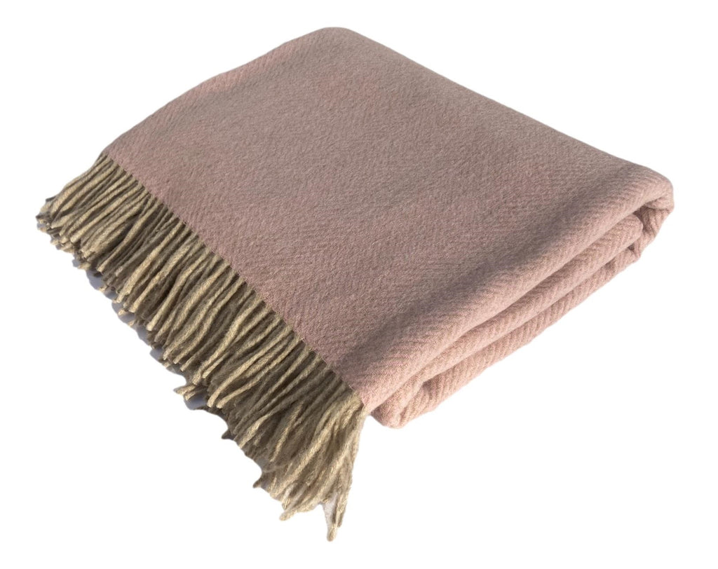Merino Lambswool Throw Blanket - Herringbone - Plaster, Made in England