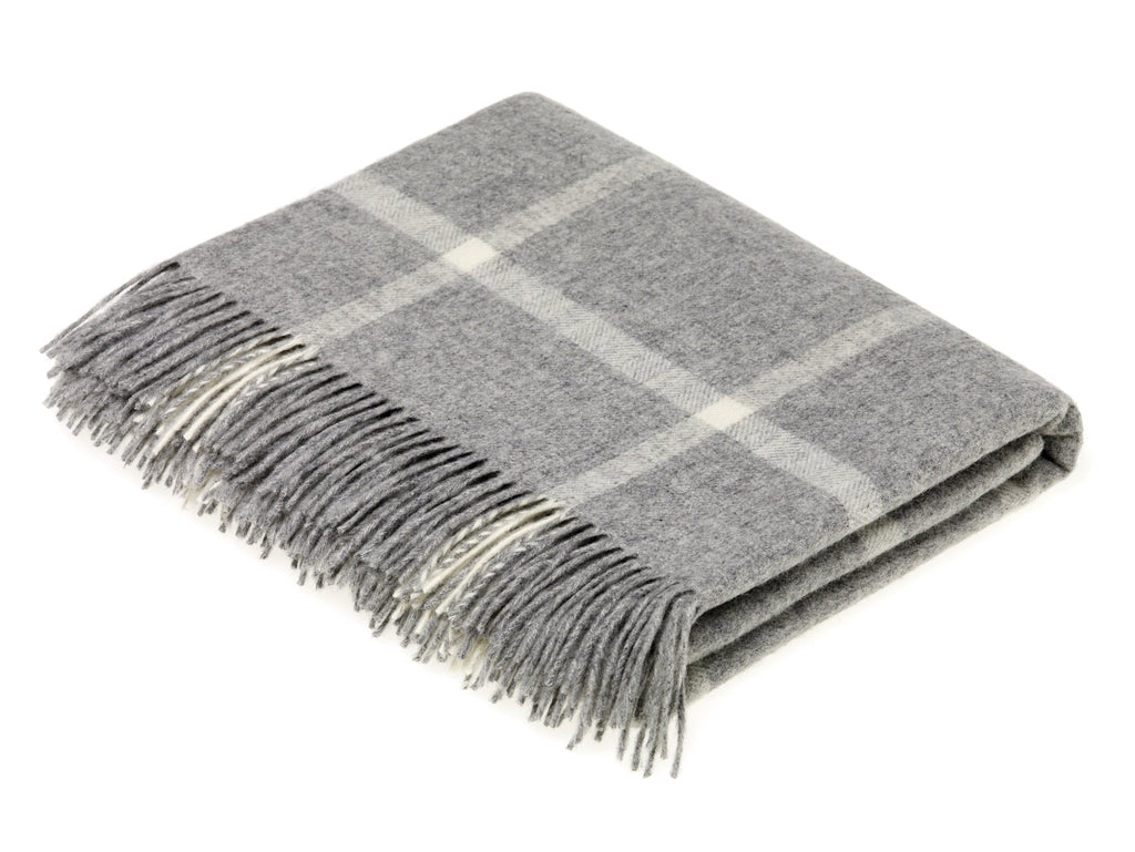 Merino Lambswool Throw Blanket - Windowpane - Gray, Made in England