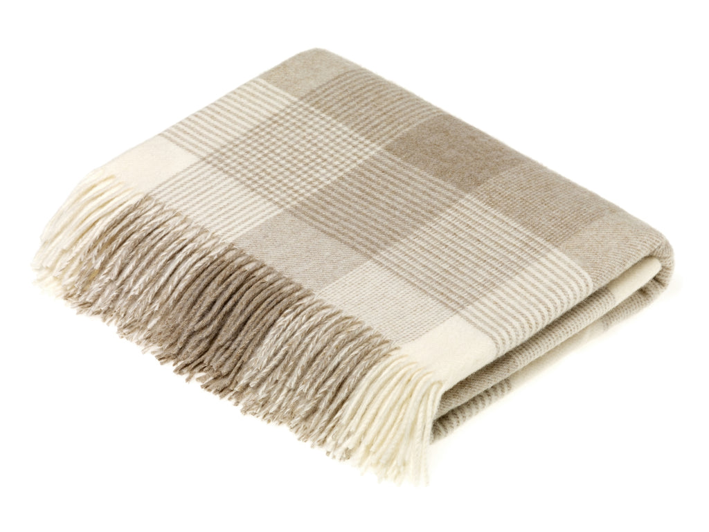 Merino Lambswool Throw - Blanket Check - Beige, Made in England