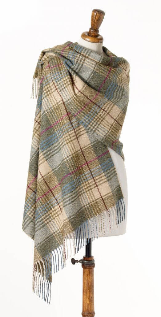 Wrap - Stole - Shawl - Check Swale Beige/Green