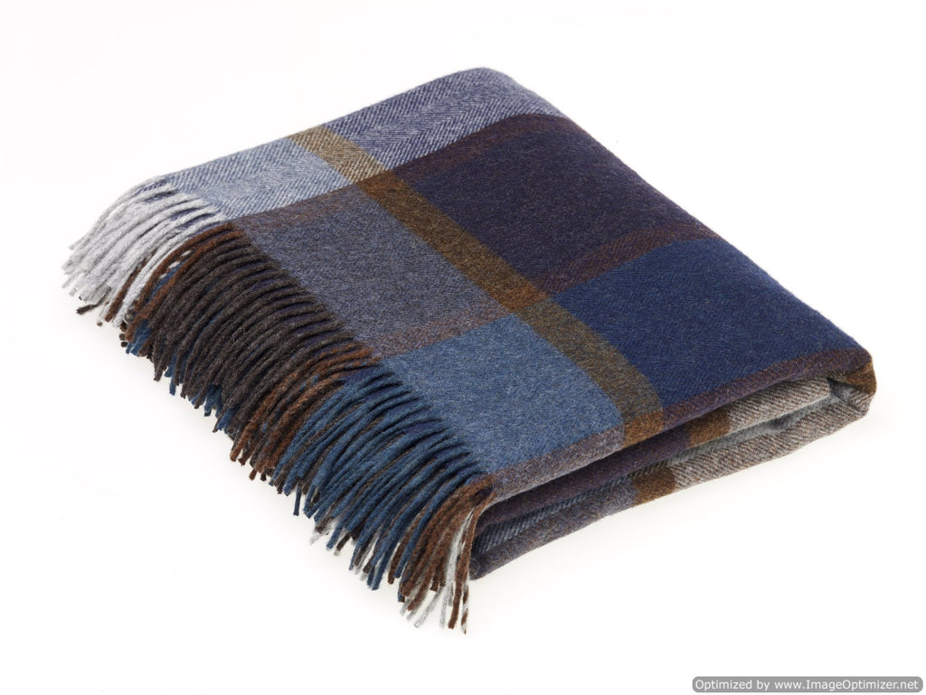 Merino Lambswool Throw Blanket - Pateley Blue - Made in England - Bronte by Moon