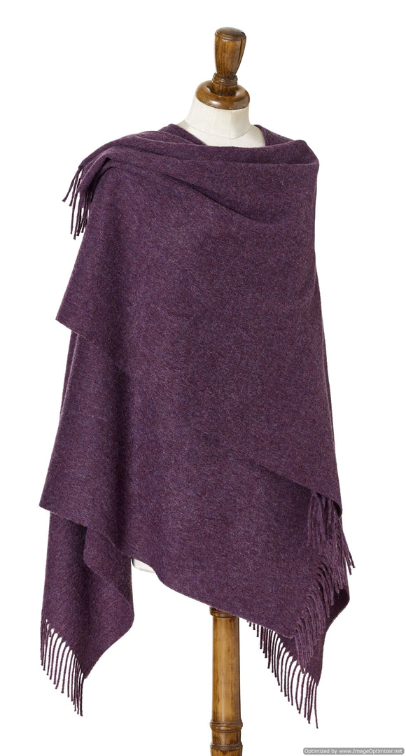 Bronte by Moon Ruana - Merino Lambswool - Plain - Purple Heather
