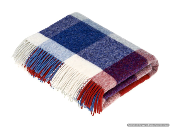 New England Patriots Football Throw Blanket in Shetland Quality Pure New Wool
