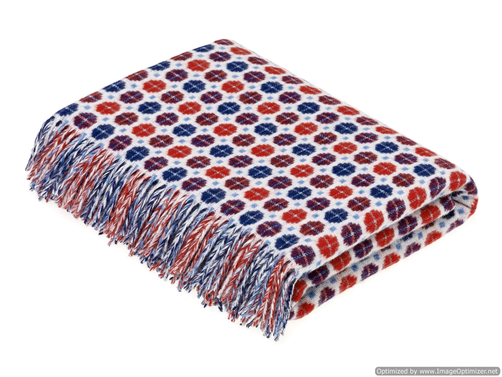 Merino Lambswool Throw Blanket - Milan - Red / Blue, Made in England
