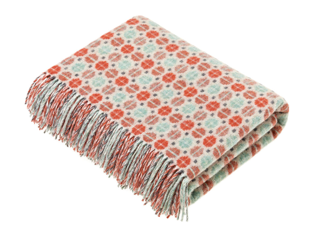 Merino Lambswool Throw Blanket - Milan - Coral/Mint, Made in England