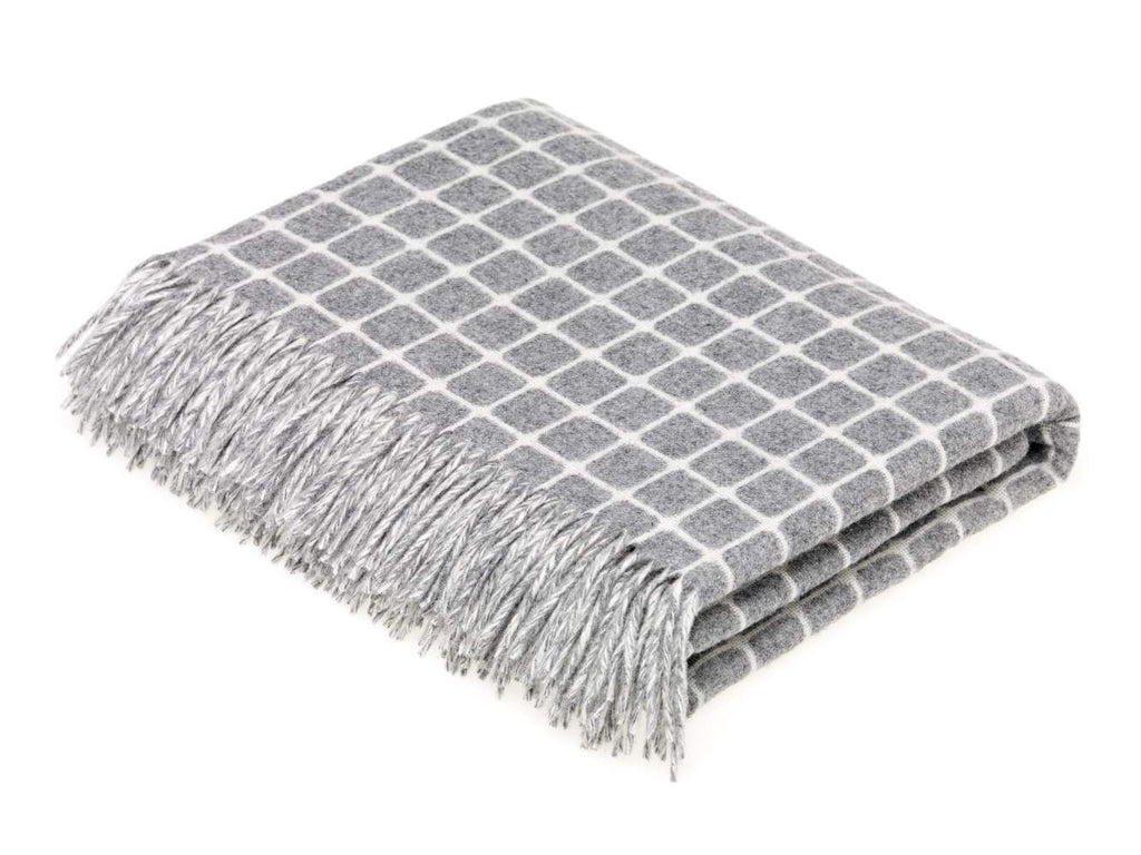 gray and white check throw blanket made of merino lambswool by bronte moon
