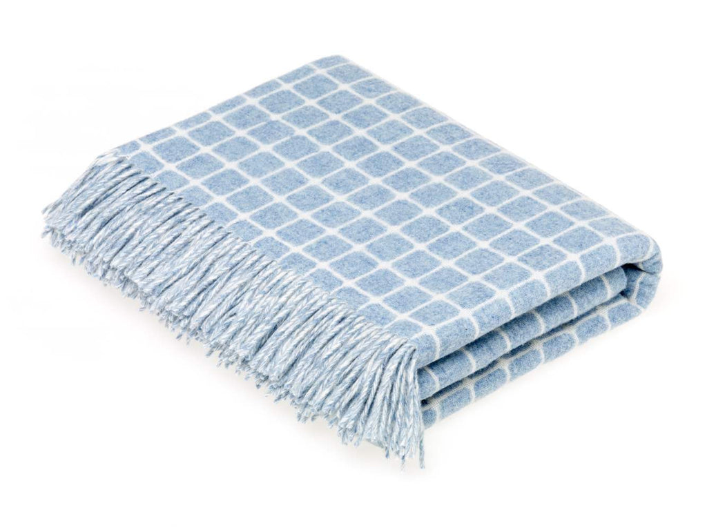 Athens Check - Merino Lambswool Throw - Aqua