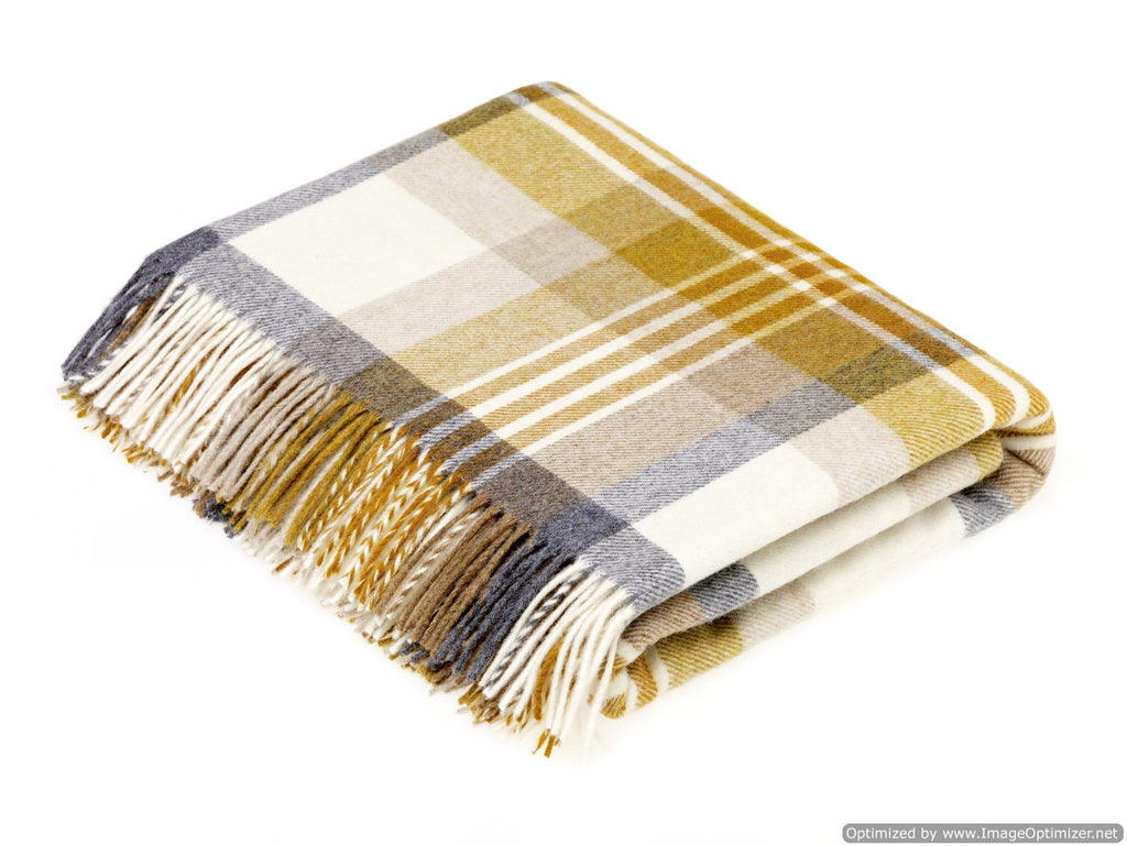 Merino Lambswool Throw Blanket - Melbourne - Gold, Made in England