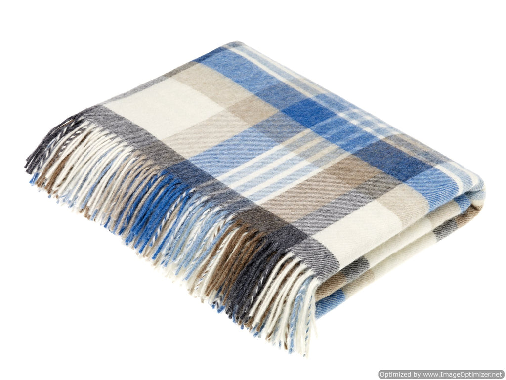 Merino Lambswool Throw Blanket - Melbourne - Aqua, Made in England