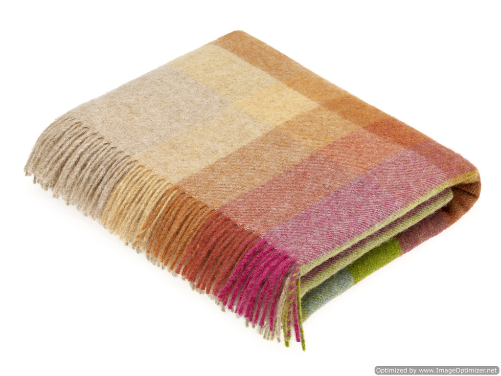 Shetland Quality - Pure New Wool - Harley Stripe - Sunshine - Throw Blanket