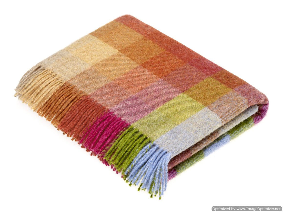 Shetland Quality - Pure New Wool - Harlequin - Sunshine - Throw Blanket