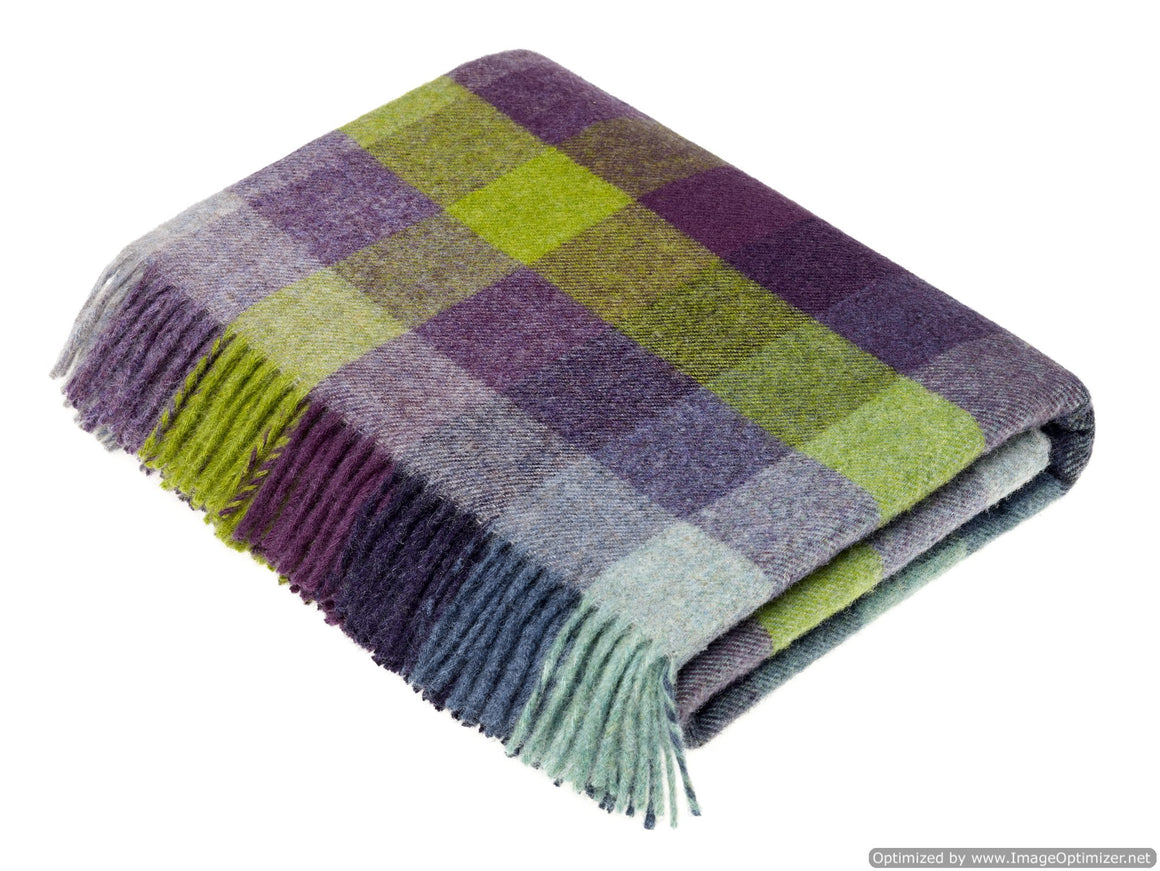 Shetland Quality - Pure New Wool - Harlequin - Blackcurrant - Throw Blanket