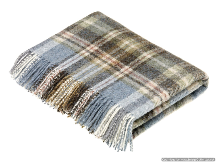 Pure New Wool Throw Blanket - Glen Coe - Aqua - Made in England