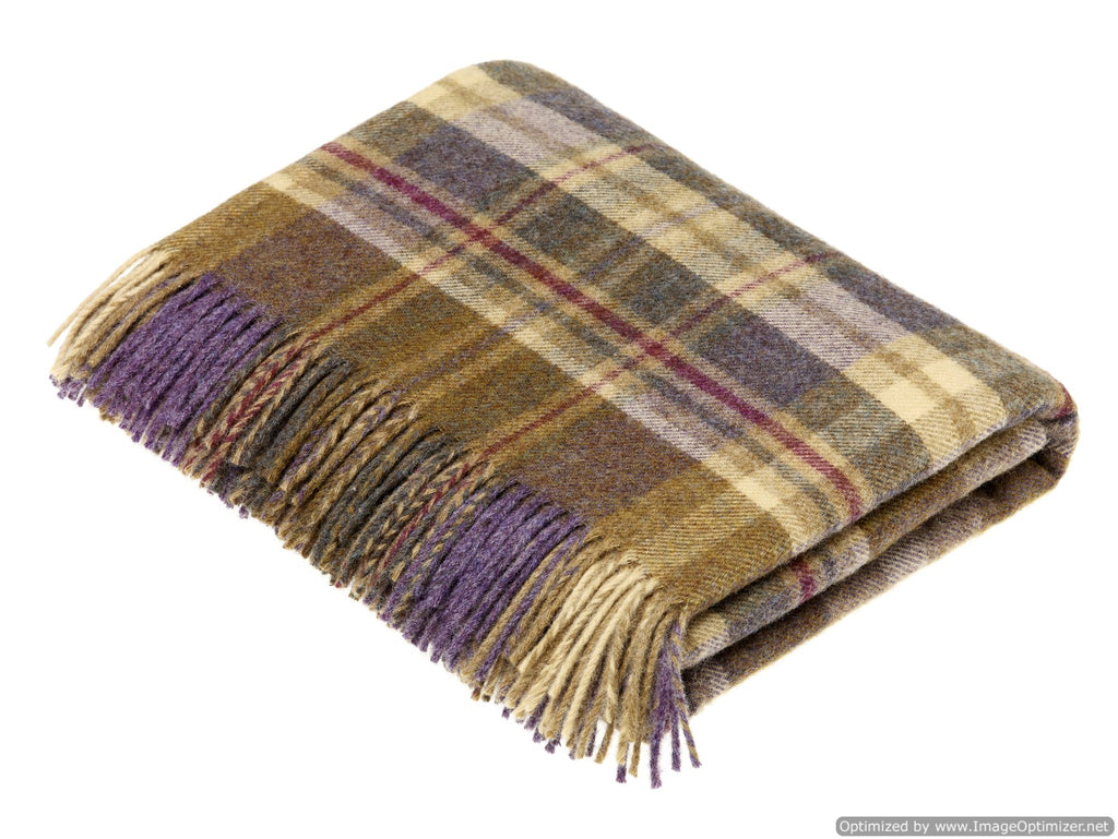 Pure New Wool Throw Blanket - Glen Coe - Heather - Made in England