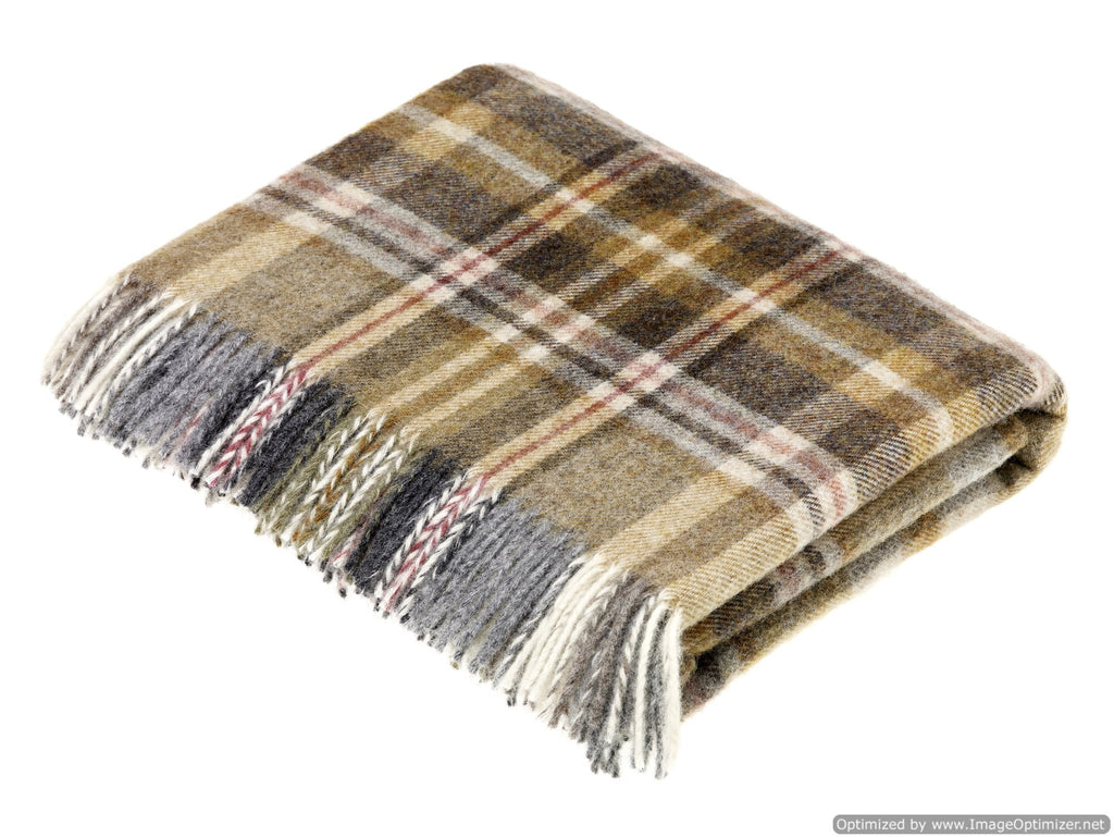 Pure New Wool Throw Blanket - Glen Coe - Mustard - Made in England