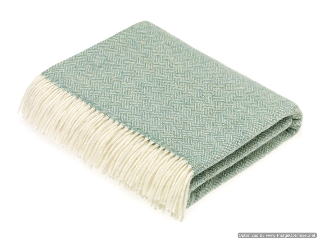 Merino Lambswool Throw Blanket -  Parquet - Eucalyptus