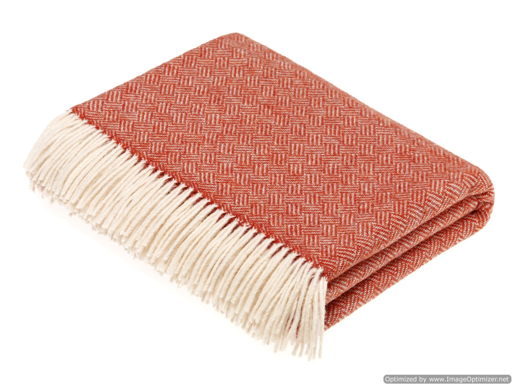 Merino Lambswool Throw Blanket -  Parquet - Coral