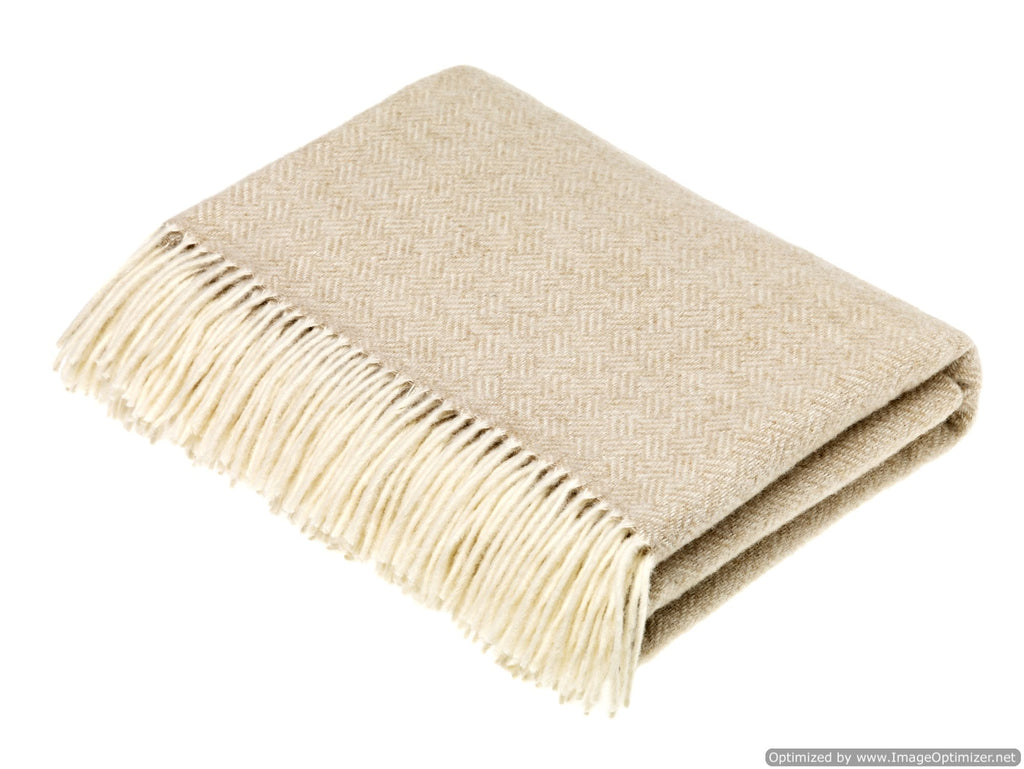 Merino Lambswool Throw Blanket - Parquet Beige - Made in England