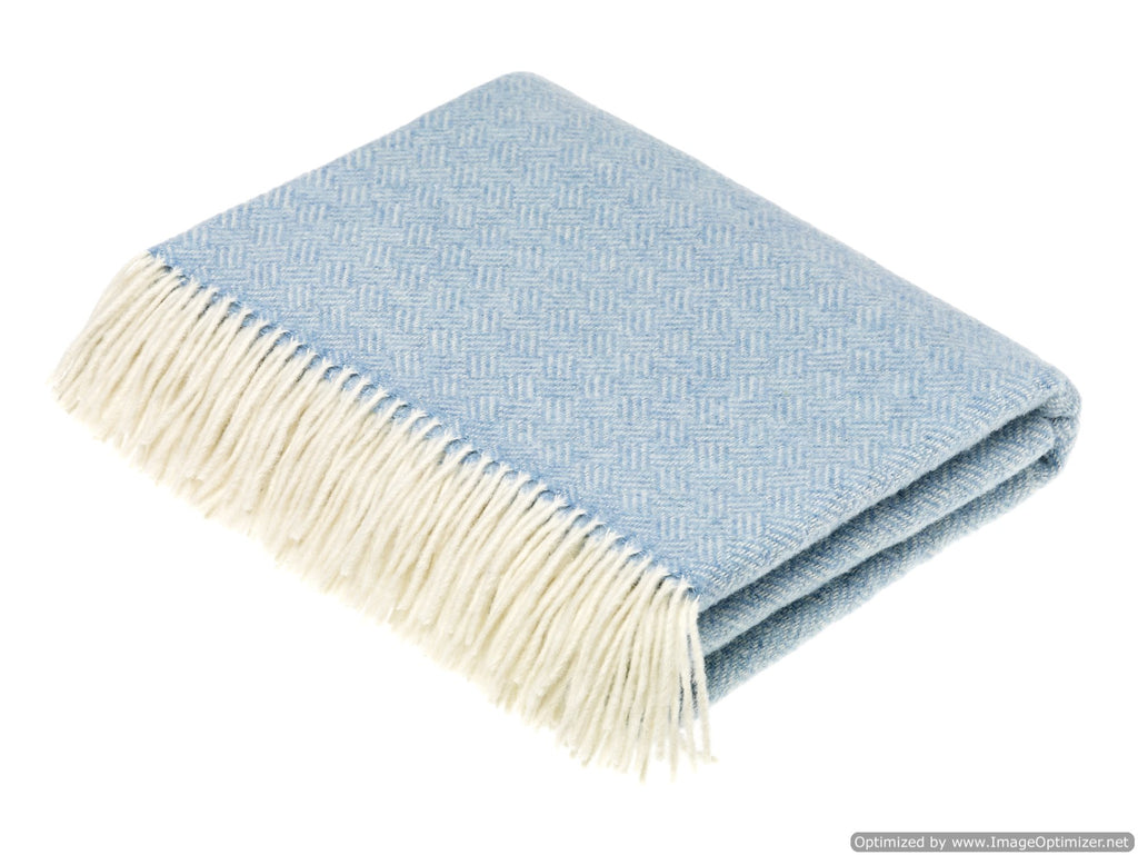 Merino Lambswool Throw Blanket - Parquet - Aqua, Made in England