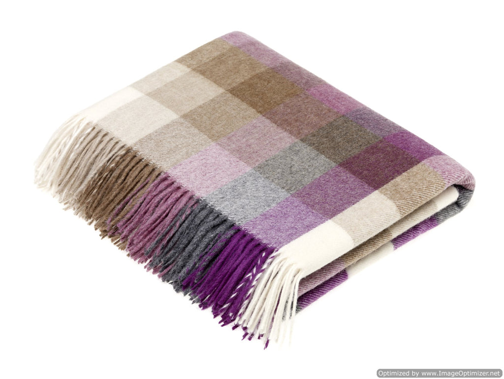 Merino Lambswool Throw Blanket - Harlequin - Clover, Made in England