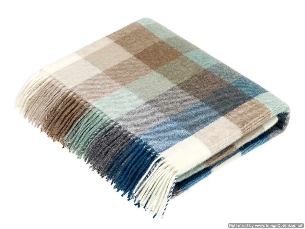 Merino Lambswool Throw Blanket - Harlequin - Eucalyptus, Made in England