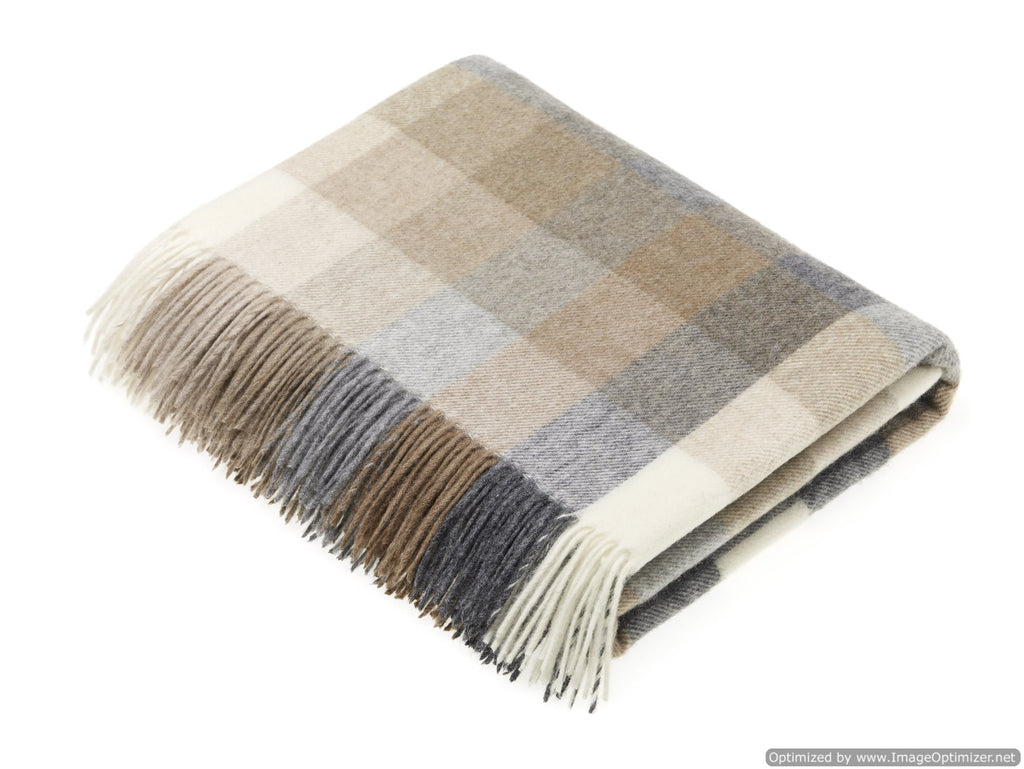 Merino Lambswool Throw Blanket - Harlequin - Natural - Made in England