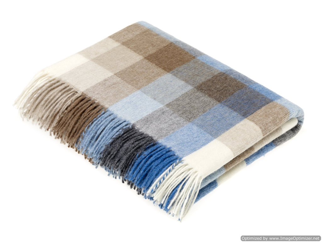Merino Lambswool Throw Blanket - Harlequin - Aqua, Made in England