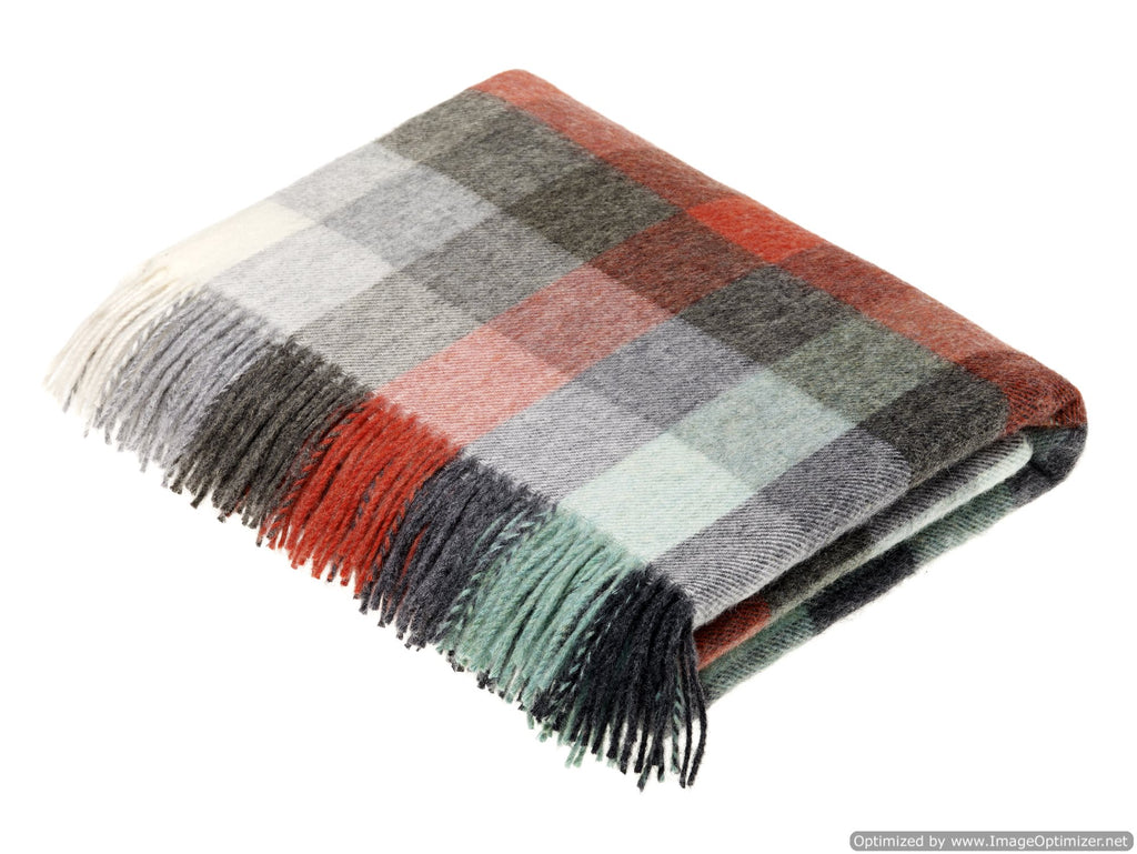 Merino Lambswool Throw Blanket - Harlequin - Coral & Mint - Made in England
