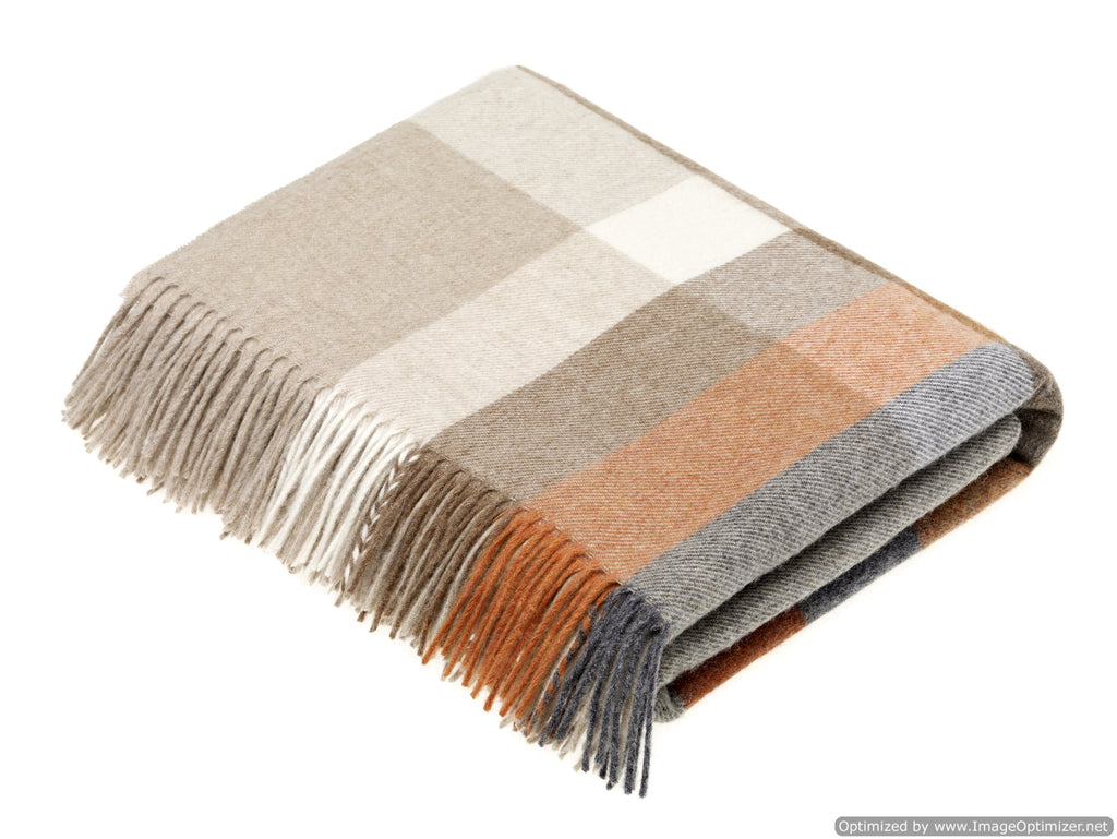 Merino Lambswool Throw Blanket - Harley Stripe - Saffron - Burnt Orange, Made in UK