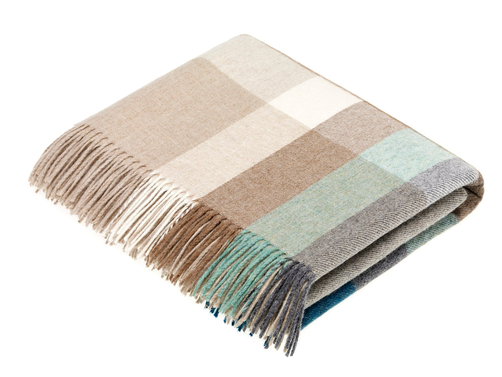 Merino Lambswool Throw Blanket - Harley Stripe - Eucalyptus - Made in England,