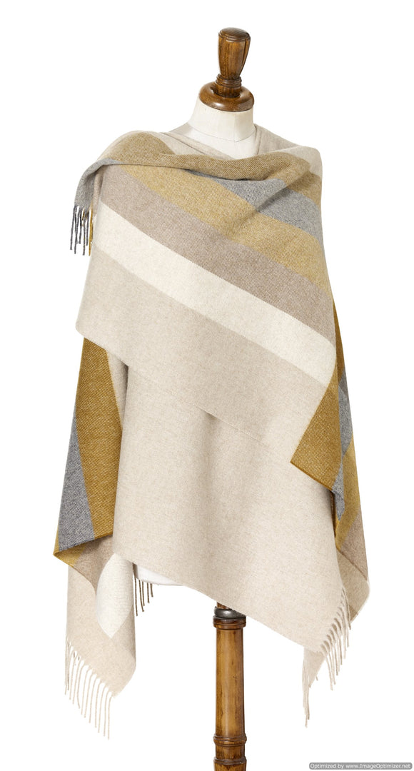Bronte by Moon Ruana - Merino Lambswool - Stripe - Gold / Gray