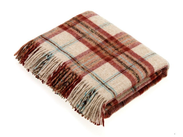 National Trust - Montacute - Brick & Aqua - Shetland Quality - Throw Blanket