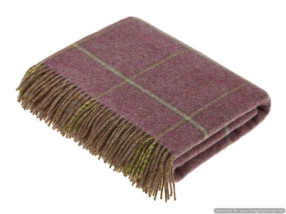 Shetland Quality - Pure New Wool - Throw Blanket - Kingham Heather - Bronte by Moon