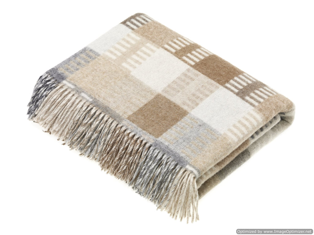 Merino Lambswool - Venice Natural Throw - Made in England