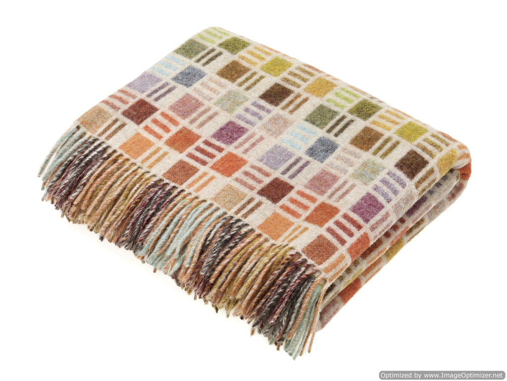 Merino Lambswool Throw Blanket - Ribbon Multi-Beige - Made in England,