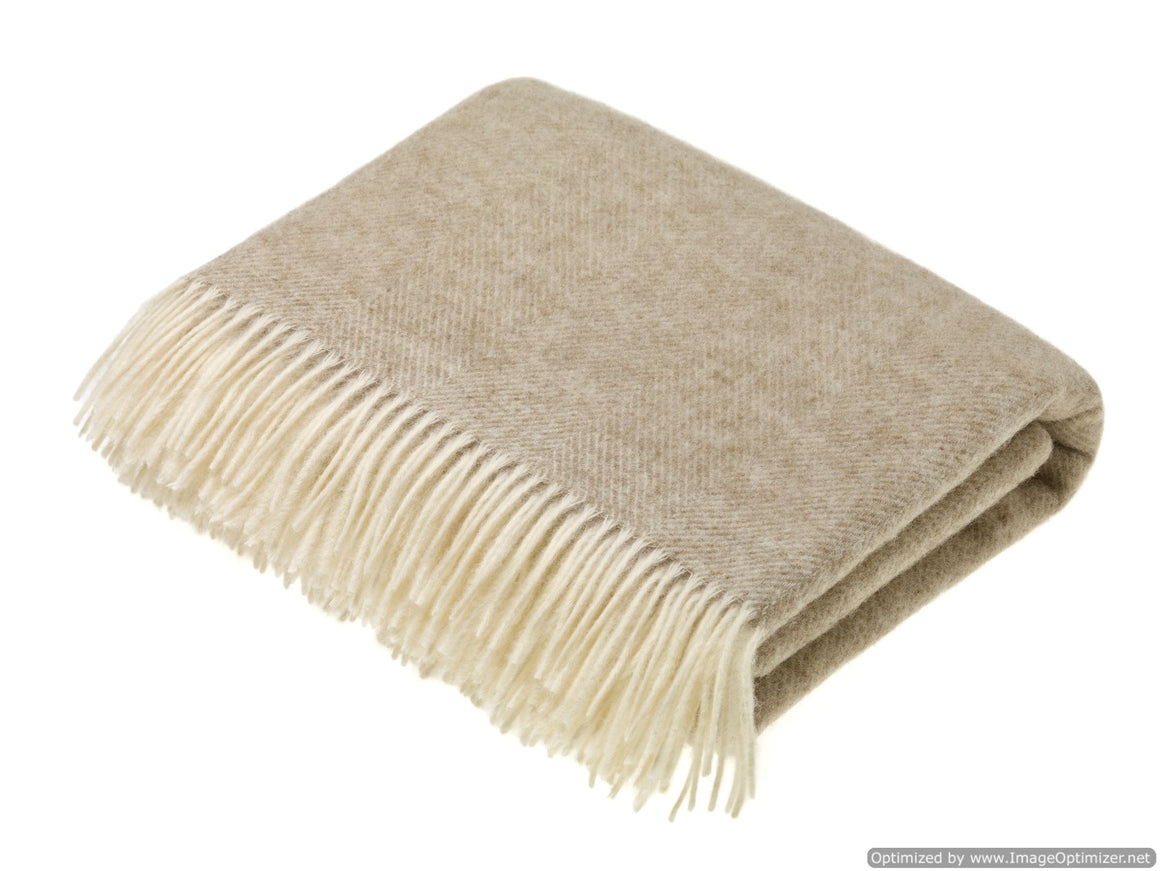 Shetland Pure New Wool - Herringbone Natural - Throw Blanket - Bronte by Moon