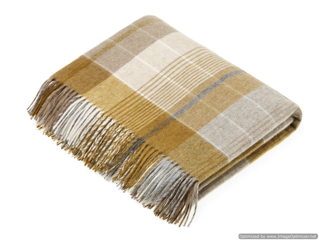 Merino Lambswool Throw Blanket - Florence - Gold / Gray - Made in England,