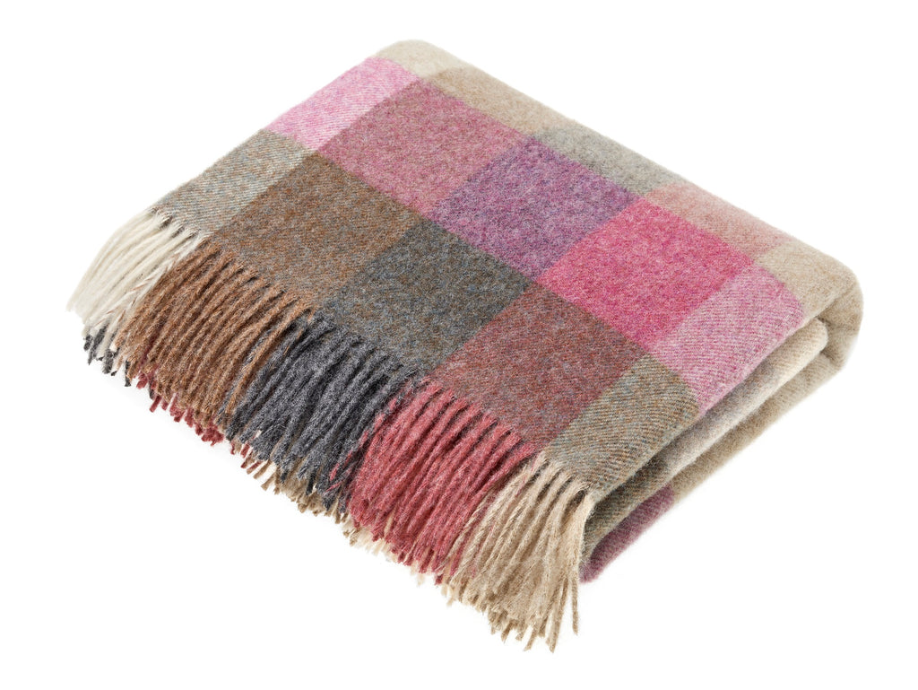 Wool Throw Blanket - Harlequin - Heather, Made in England