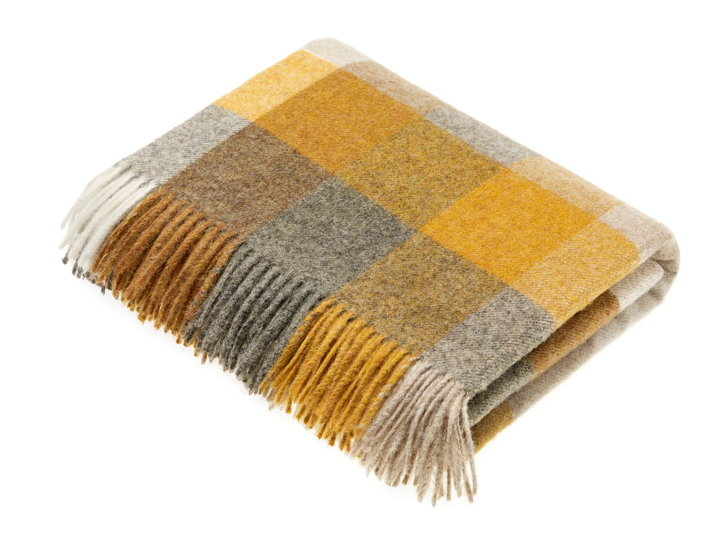 Merino Lambswool Throw Blanket - Harlequin - Mustard, Made in England