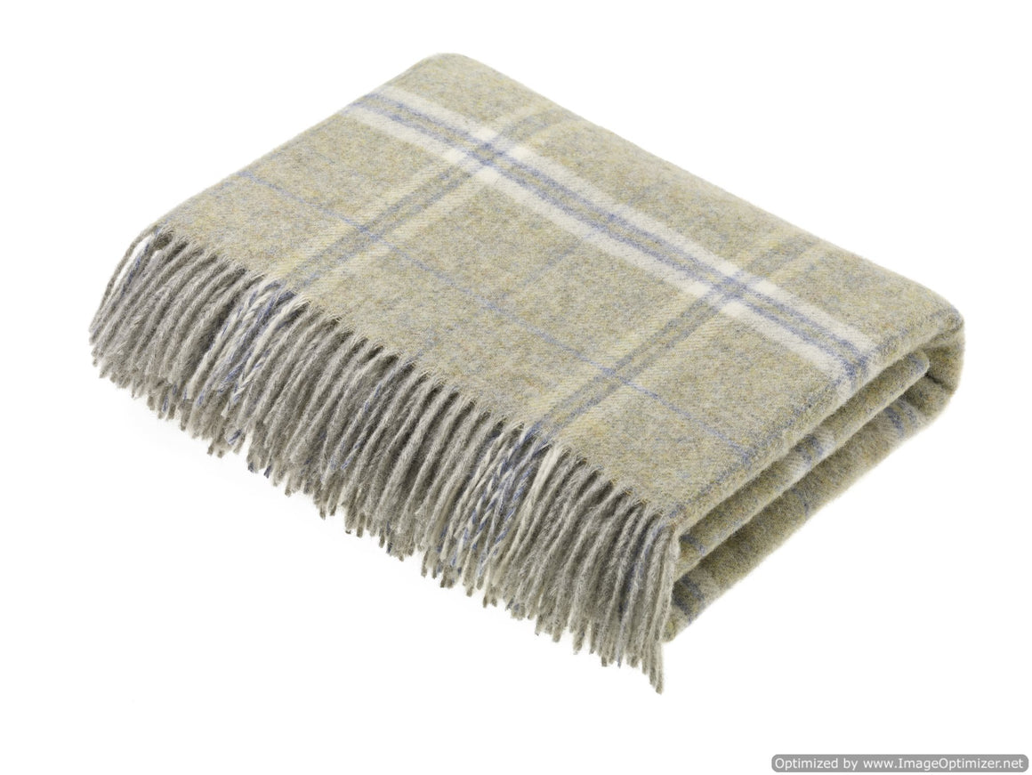 Transitional Oynx Throw - Windowpane - Shetland Quality Wool Pure New Wool - Made in England