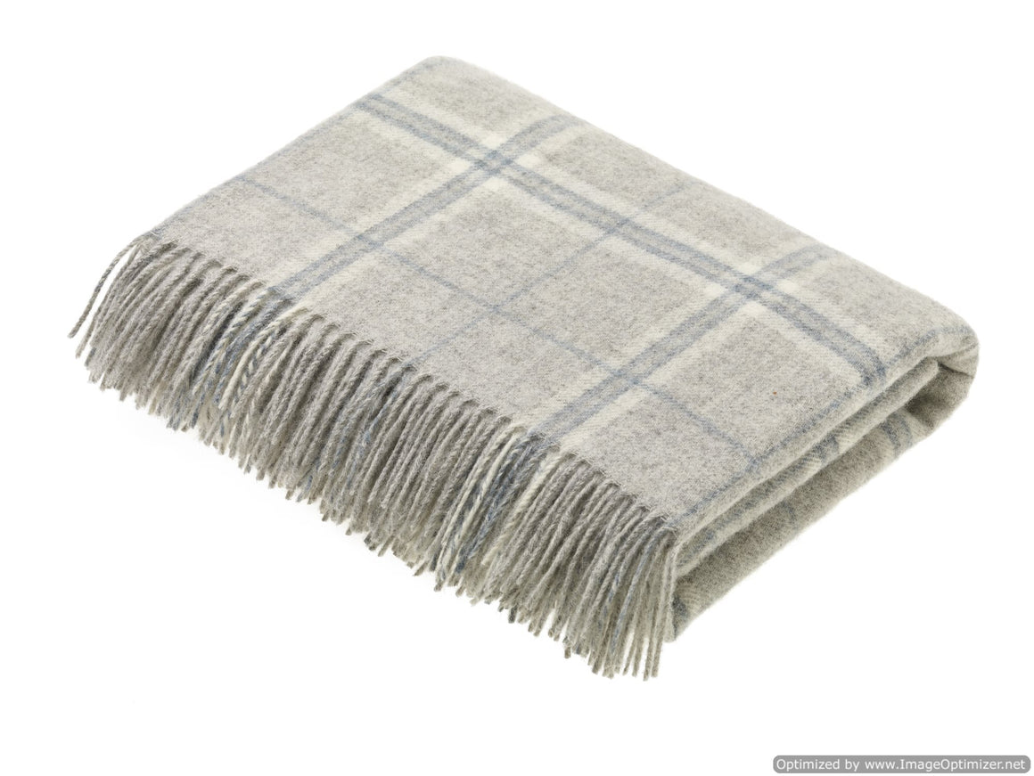 Transitional Slate Throw - Windowpane - Shetland Quality Pure New Wool - Made in England