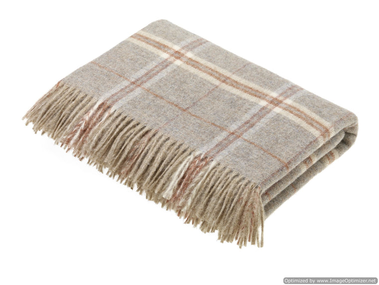 Transitional Sandstone Throw - Windowpane - Shetland Quality Wool Pure New Wool - Made in England