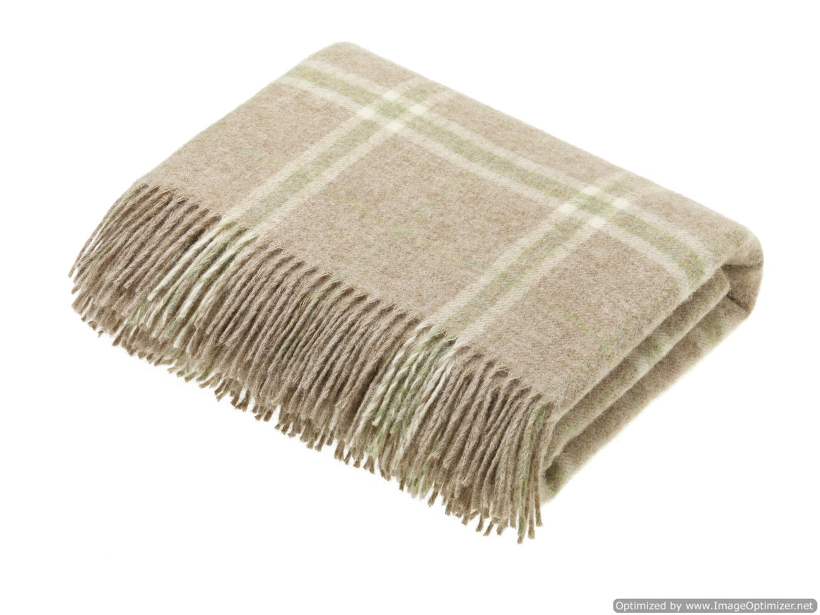 Transitional Travertine Throw - Windowpane - Shetland Quality Wool Pure New Wool - Made in England