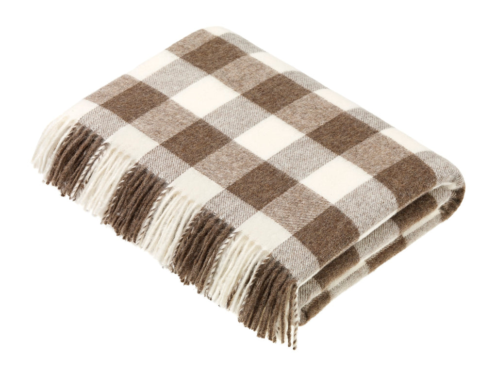 Soft Neutral - Natural Lambswool Throw - Checkerboard Natural