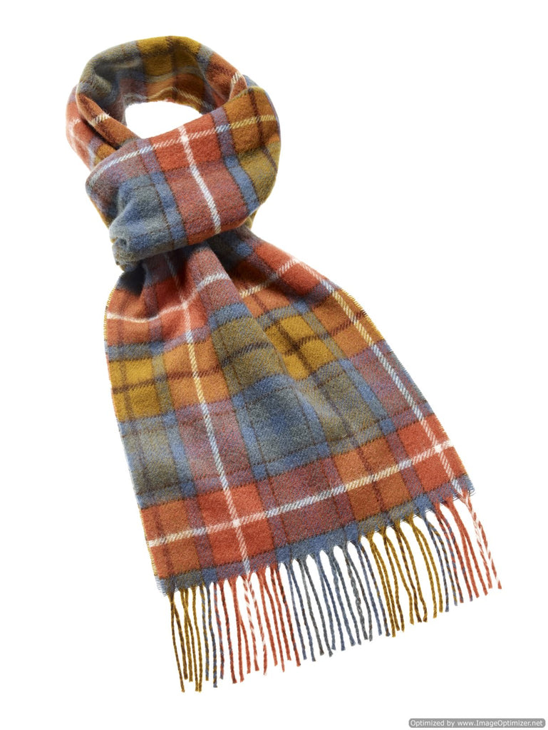 "Tartan Wide 12"" Antique Buchanan Scarf, Merino Lambswool, Made in England"
