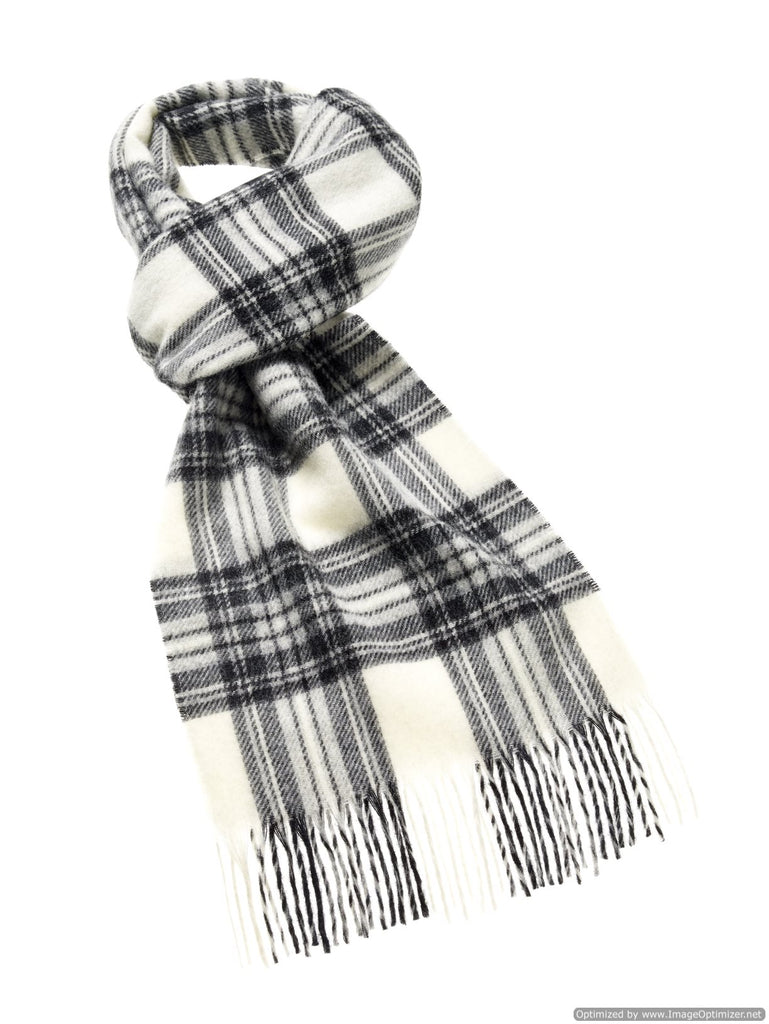 Merino Lambswool Dress Gray Stewart Tartan Scarf - Bronte Moon