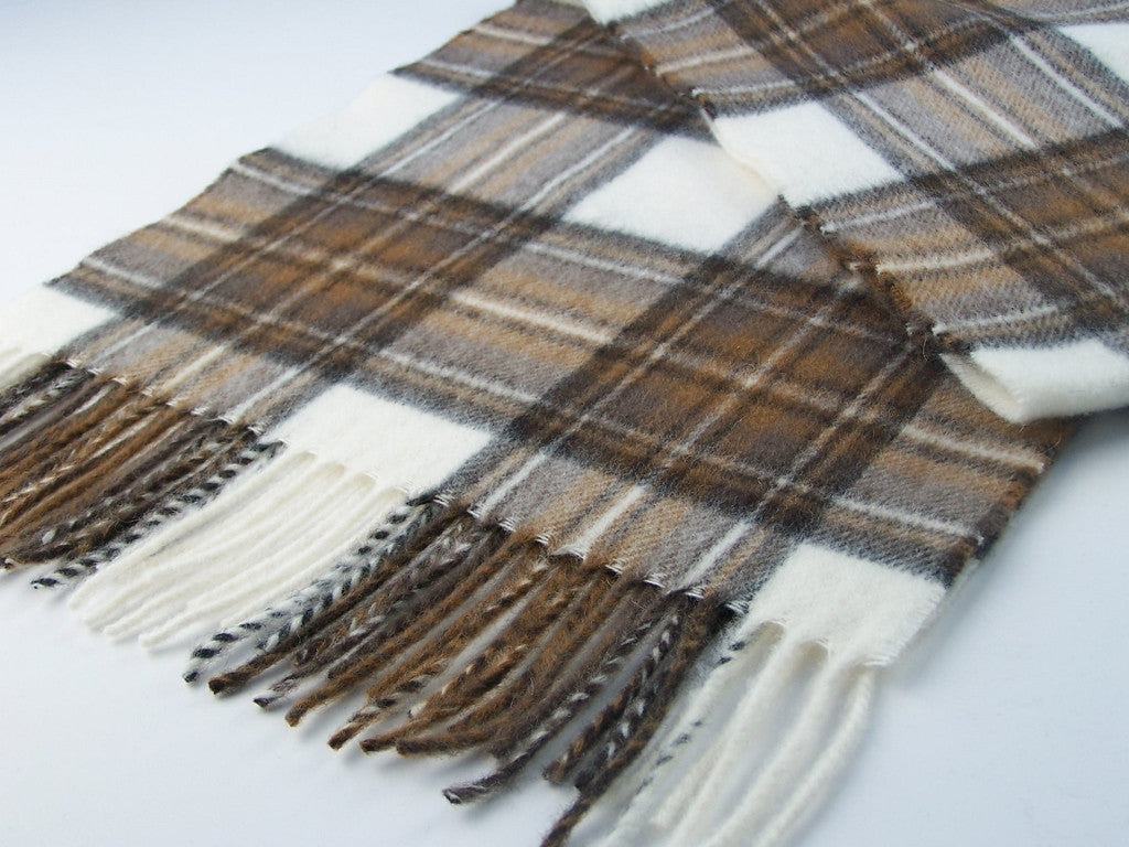 Brown and White Plaid Tartan Scarf