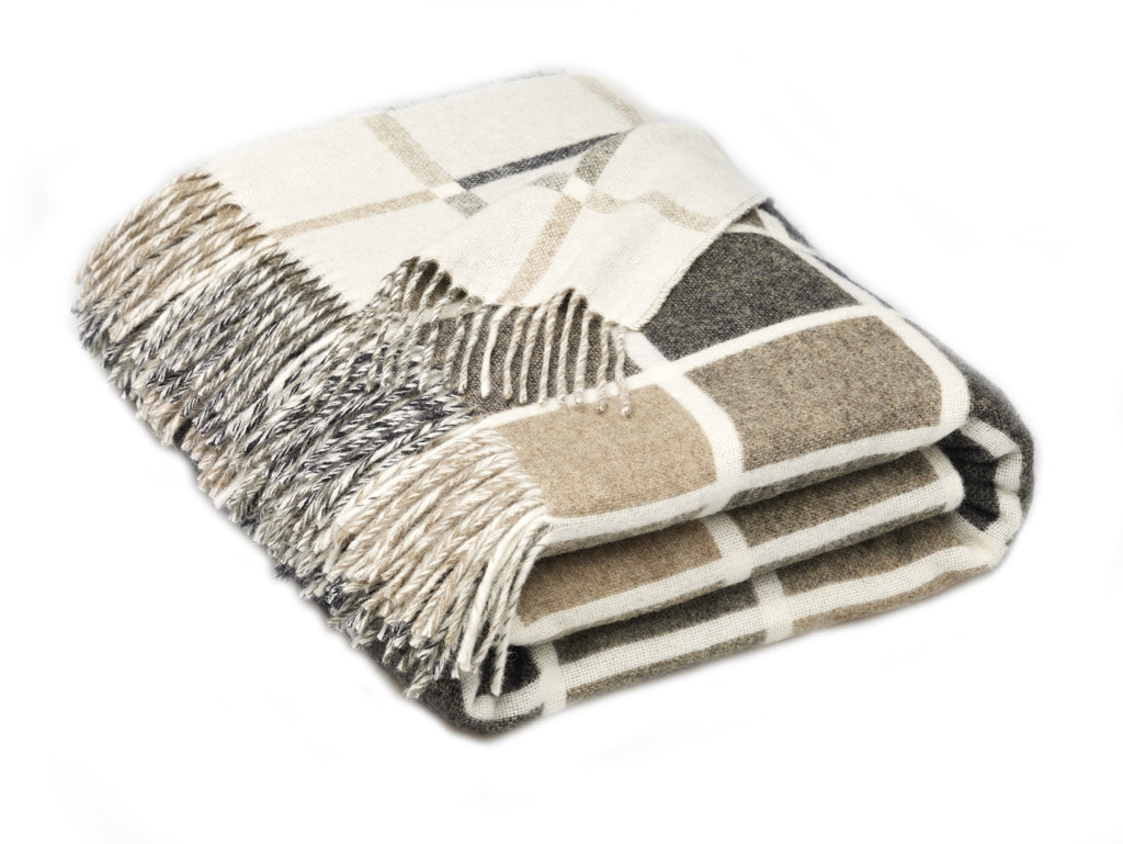 Geometric Merino Lambswool Multiblock Natural Throw